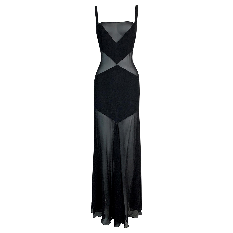 C. 1999 Gianni Versace Sheer Black Silk Long Gown Dress