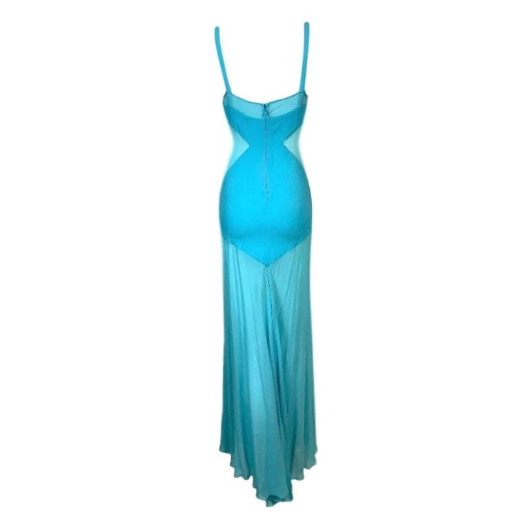 C. 1999 Gianni Versace Sheer Blue Silk Long Gown Dress In Good Condition For Sale In Yukon, OK