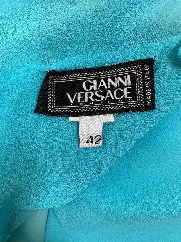 Women's C. 1999 Gianni Versace Sheer Blue Silk Long Gown Dress For Sale