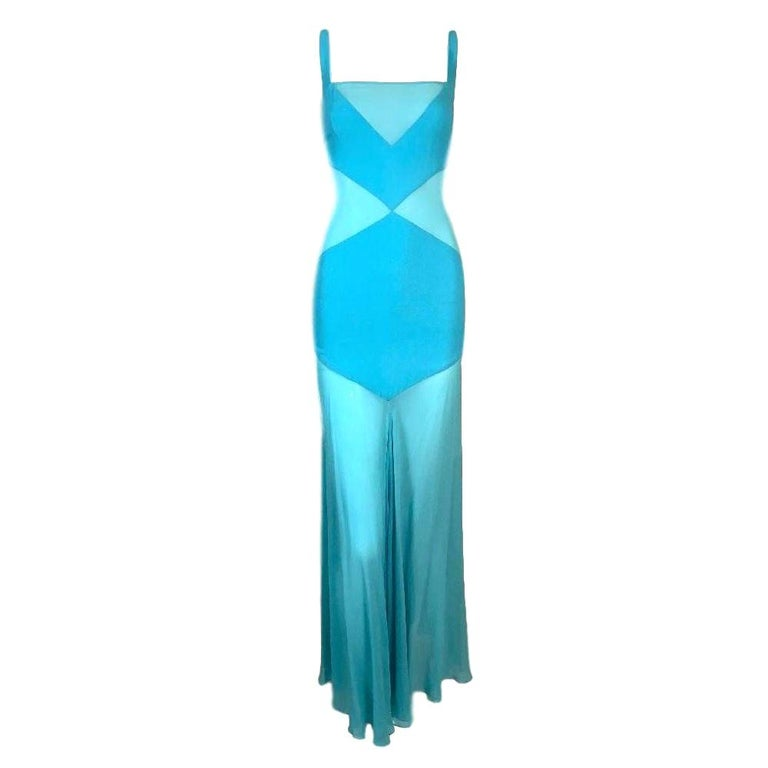 C. 1999 Gianni Versace Sheer Blue Silk Long Gown Dress For Sale