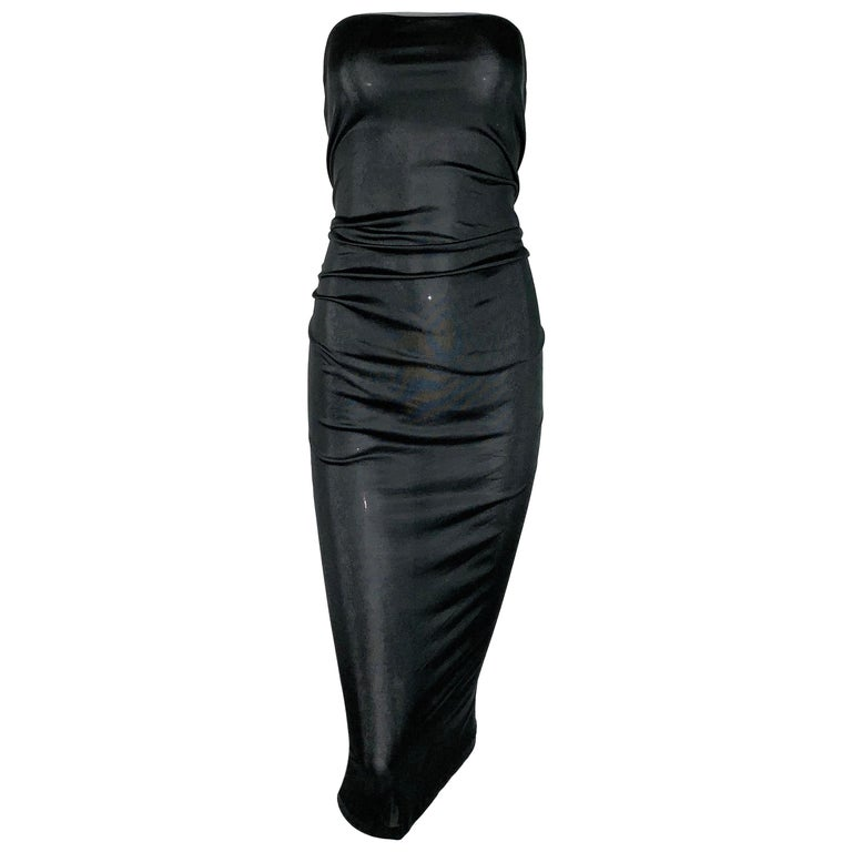 C. 2000 Yves Saint Laurent Sheer Black Corset Strapless Ruched Wiggle Dress For Sale