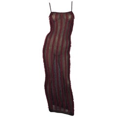 C. 2001 Christian Dior by John Galliano Brown & Red Sheer Eyelash Fringe Dress