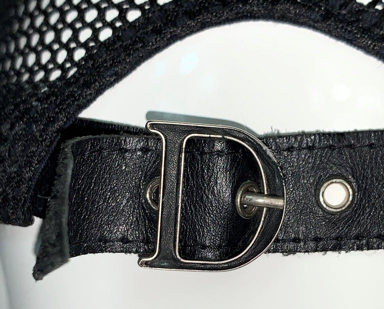 C. 2001 Christian Dior John Galliano Black White Fur Trucker Baseball Cap Hat For Sale 5