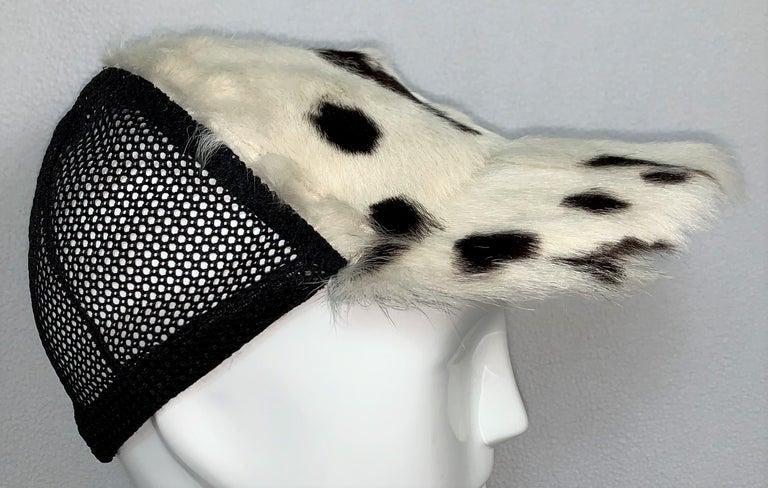 Beige C. 2001 Christian Dior John Galliano Black White Fur Trucker Baseball Cap Hat For Sale