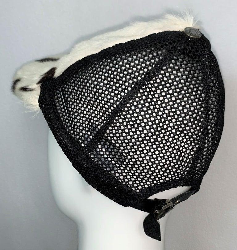 C. 2001 Christian Dior John Galliano Black White Fur Trucker Baseball Cap Hat In Good Condition For Sale In Yukon, OK