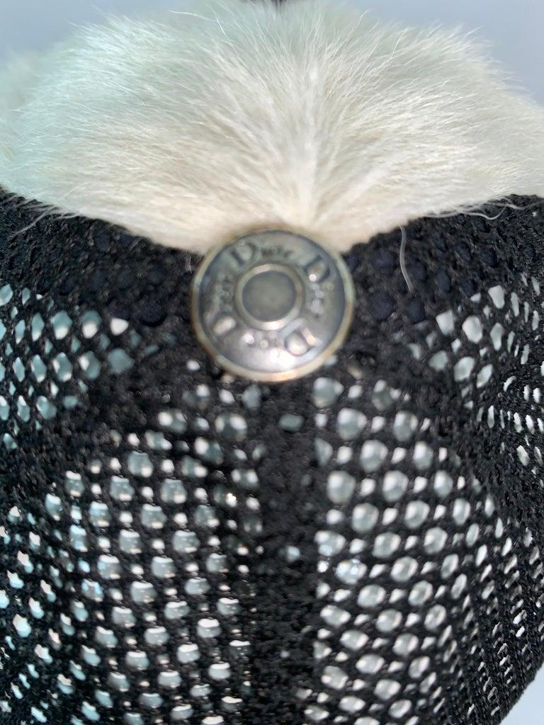 C. 2001 Christian Dior John Galliano Black White Fur Trucker Baseball Cap Hat For Sale 2