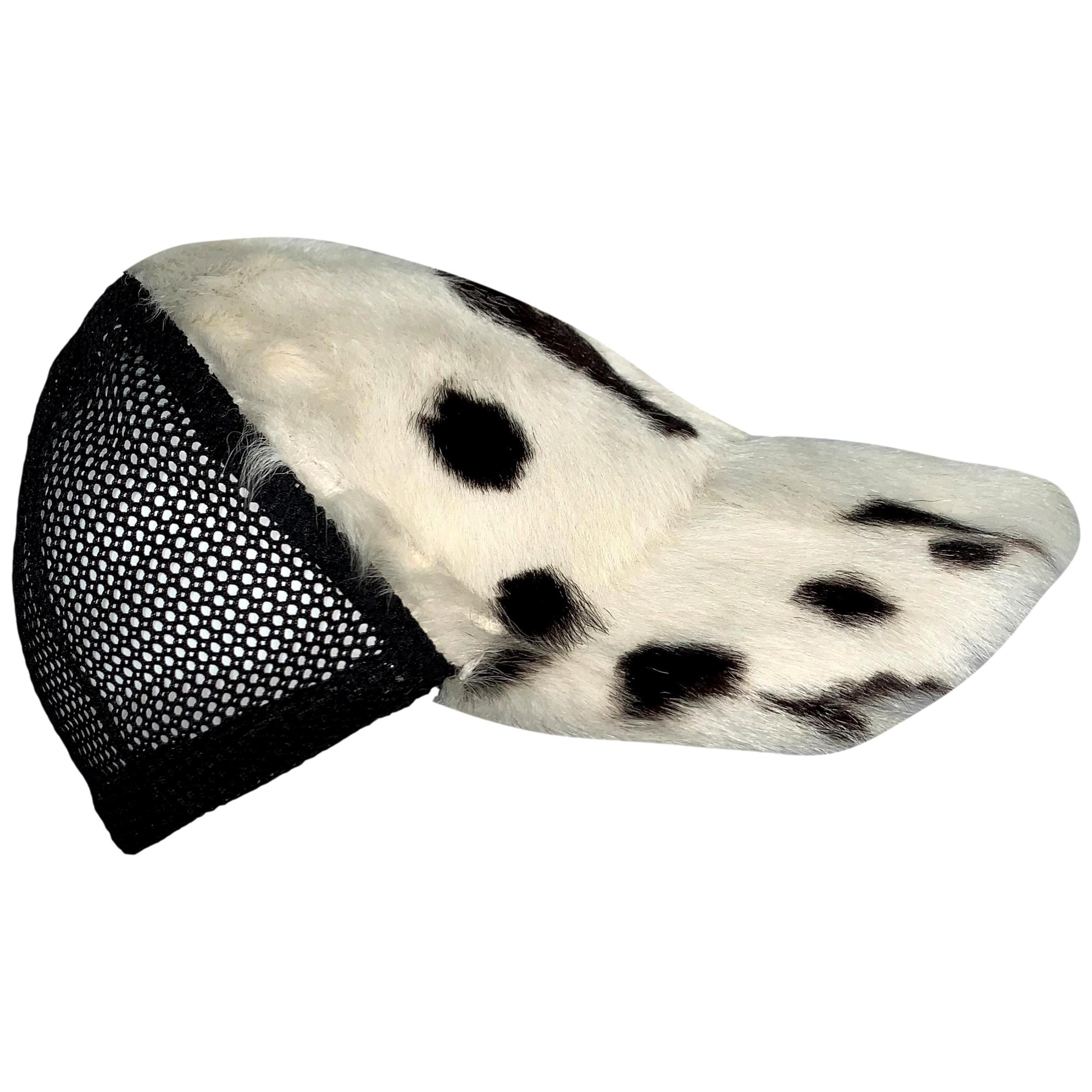 C. 2001 Christian Dior John Galliano Black White Fur Trucker Baseball Cap Hat