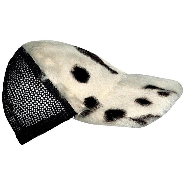 C. 2001 Christian Dior John Galliano Black White Fur Trucker Baseball Cap Hat For Sale
