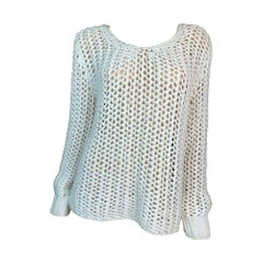 C. 2001 Dolce & Gabbana White Sheer Chunky Knit Mesh Sweater