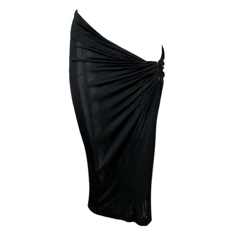 C 2001 Yves Saint Laurent Tom Ford Sheer Black Ultra Low Rise Asymmetrical Skirt For Sale