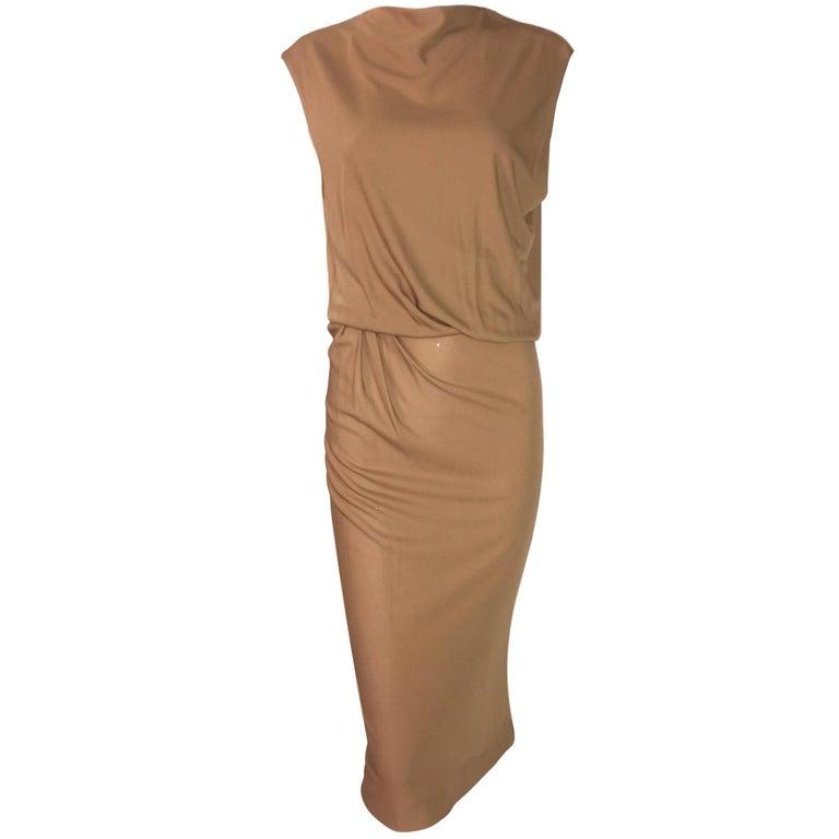 C. 2002 Jean Paul Gaultier Haute Couture Semi-Sheer Tan Nude Pin-Up Dress