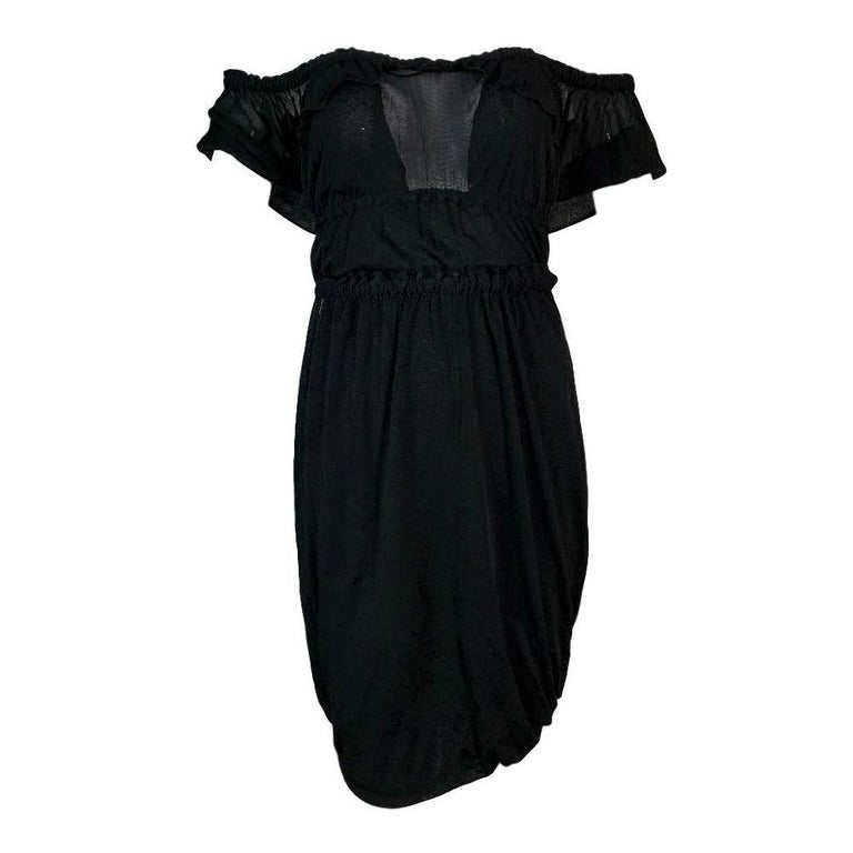 C. 2003 Yves Saint Laurent Tom Ford Black Cut-Out Ruffles Low Back Dress In Good Condition For Sale In Yukon, OK