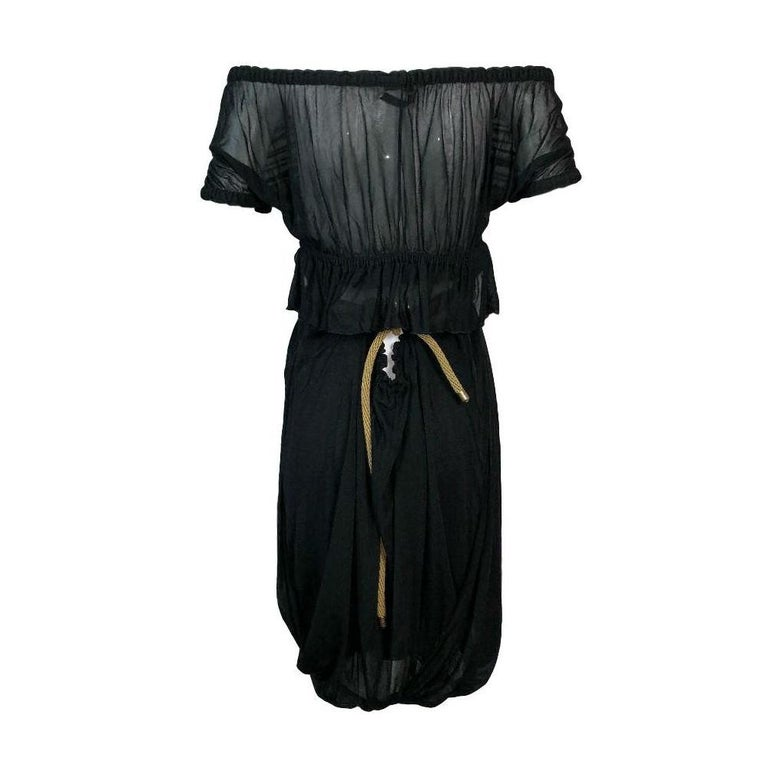 Women's C. 2003 Yves Saint Laurent Tom Ford Black Cut-Out Ruffles Low Back Dress For Sale
