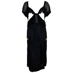 C. 2003 Yves Saint Laurent Tom Ford Black Cut-Out Ruffles Low Back Dress