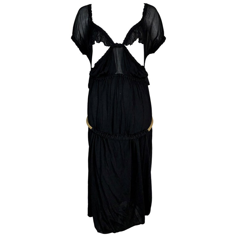 C. 2003 Yves Saint Laurent Tom Ford Black Cut-Out Ruffles Low Back Dress For Sale