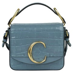 C Bag in blue leather