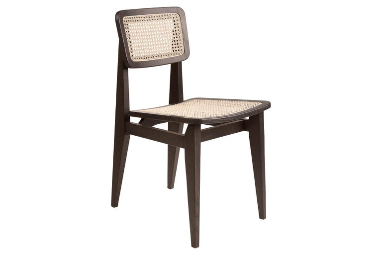 Mid-Century Modern C Chair Dining Chair, French Cane, Black Stained Oak For Sale