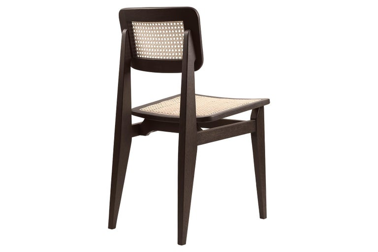 Danish C Chair Dining Chair, French Cane, Black Stained Oak For Sale