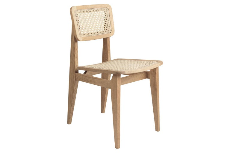 C Chair Dining Chair, French Cane, Black Stained Oak In Excellent Condition For Sale In Berkeley, CA