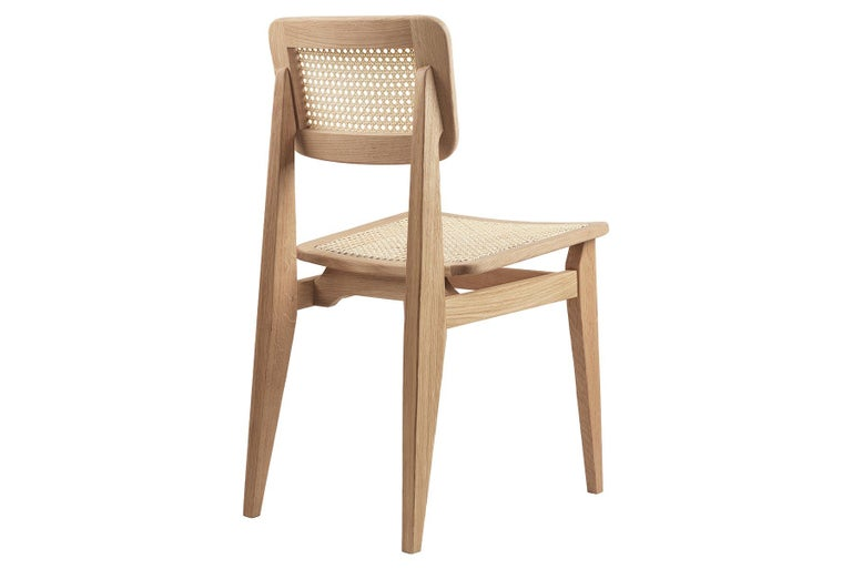 20th Century C Chair Dining Chair, French Cane, Black Stained Oak For Sale