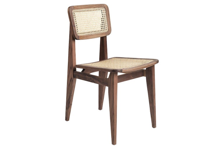 Walnut C Chair Dining Chair, French Cane, Black Stained Oak For Sale