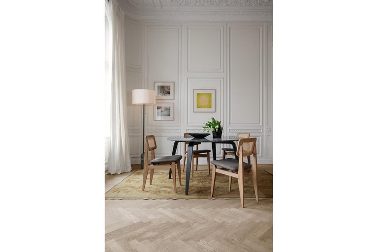 C Chair Dining Chair, French Cane, Black Stained Oak For Sale 2