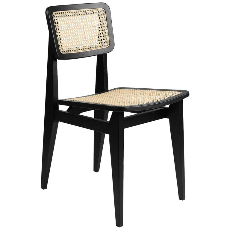 C Chair Dining Chair, French Cane, Black Stained Oak For Sale