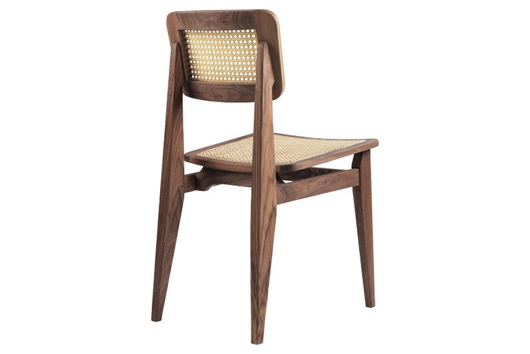 Mid-Century Modern C-Chair Dining Chair, French Cane, Brown Stained Oak For Sale