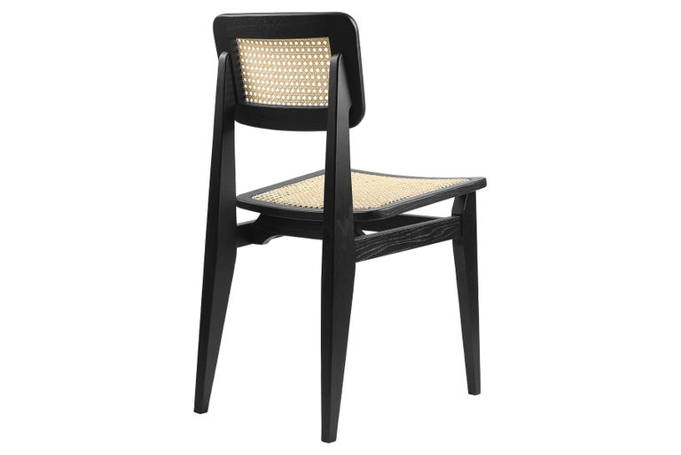 20th Century C-Chair Dining Chair, French Cane, Brown Stained Oak For Sale