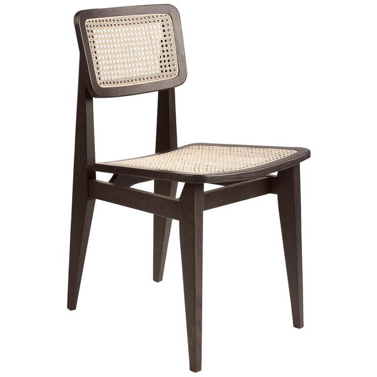 C-Chair Dining Chair, French Cane, Brown Stained Oak For Sale