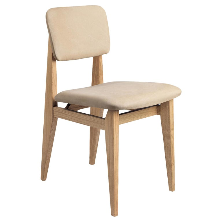 C Chair Dining Chair, Fully Upholstered, Natural Oak For Sale