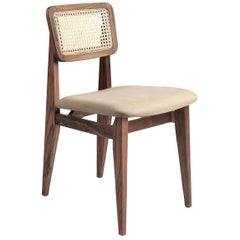 C Chair Dining Chair, Seat Upholstered, French Cane Back, American Walnut