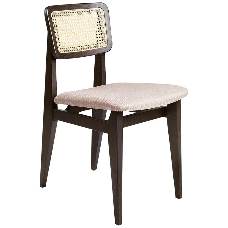 C-Chair Dining Chair, Seat Upholstered, French Cane Back, Black Stained Oak For Sale