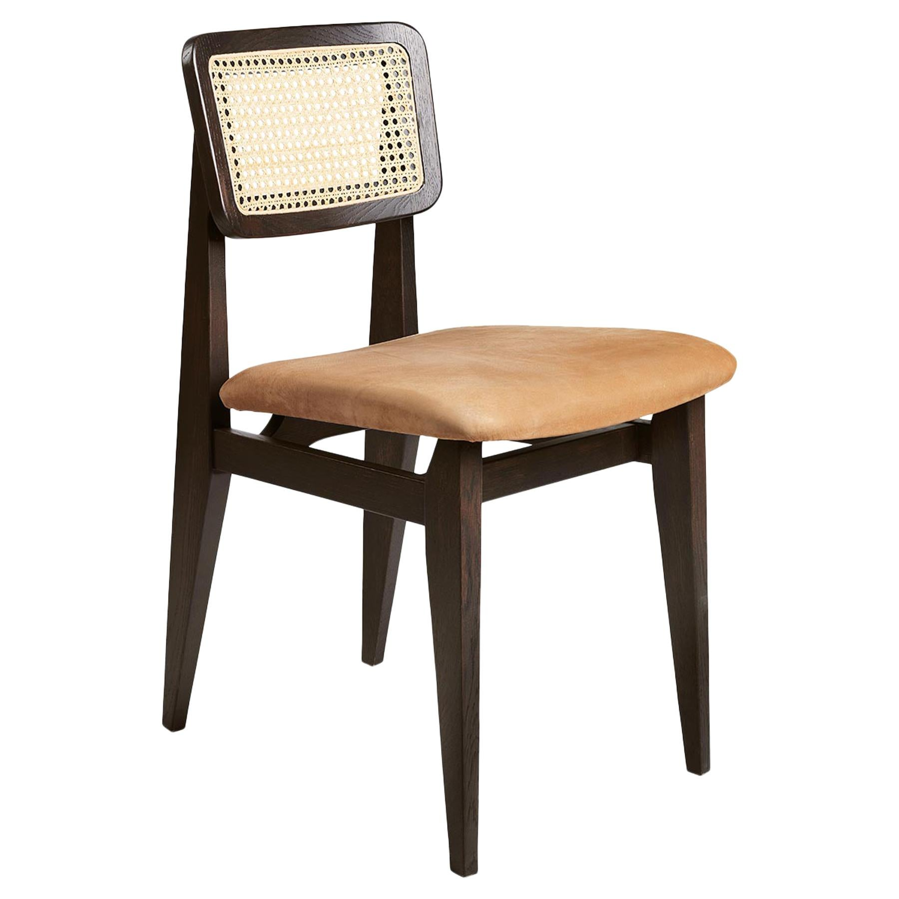 C Chair Dining Chair, Seat Upholstered, French Cane Back, Brown Stained Oak
