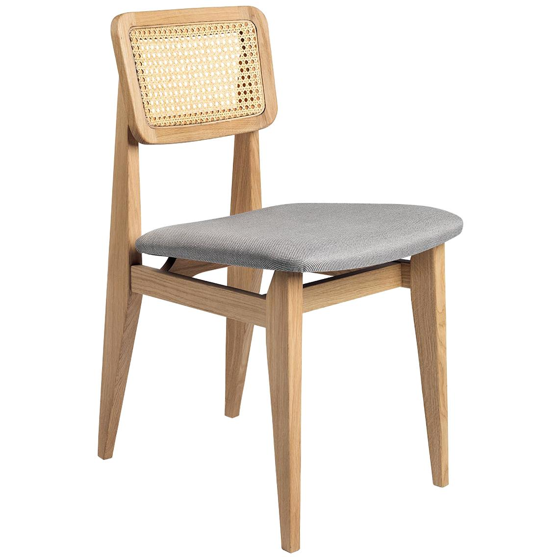 C Chair Dining Chair, Seat Upholstered, French Cane Back, Natural Oak