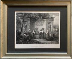'Fountain Near Lake Como,' by C. Cousen, Engraving