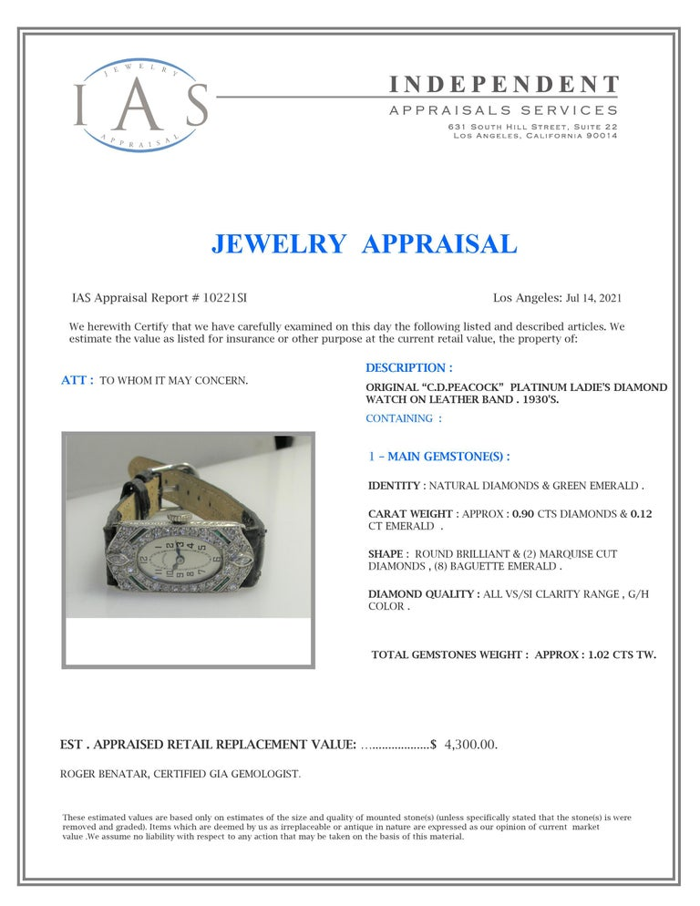 C. D. Peacock Platinum Diamond Emerald Art Deco Ladies Dress Watch, circa 1930s For Sale 7