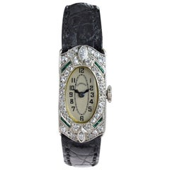 C. D. Peacock Platinum Diamond Emerald Art Deco Ladies Dress Watch, circa 1930s