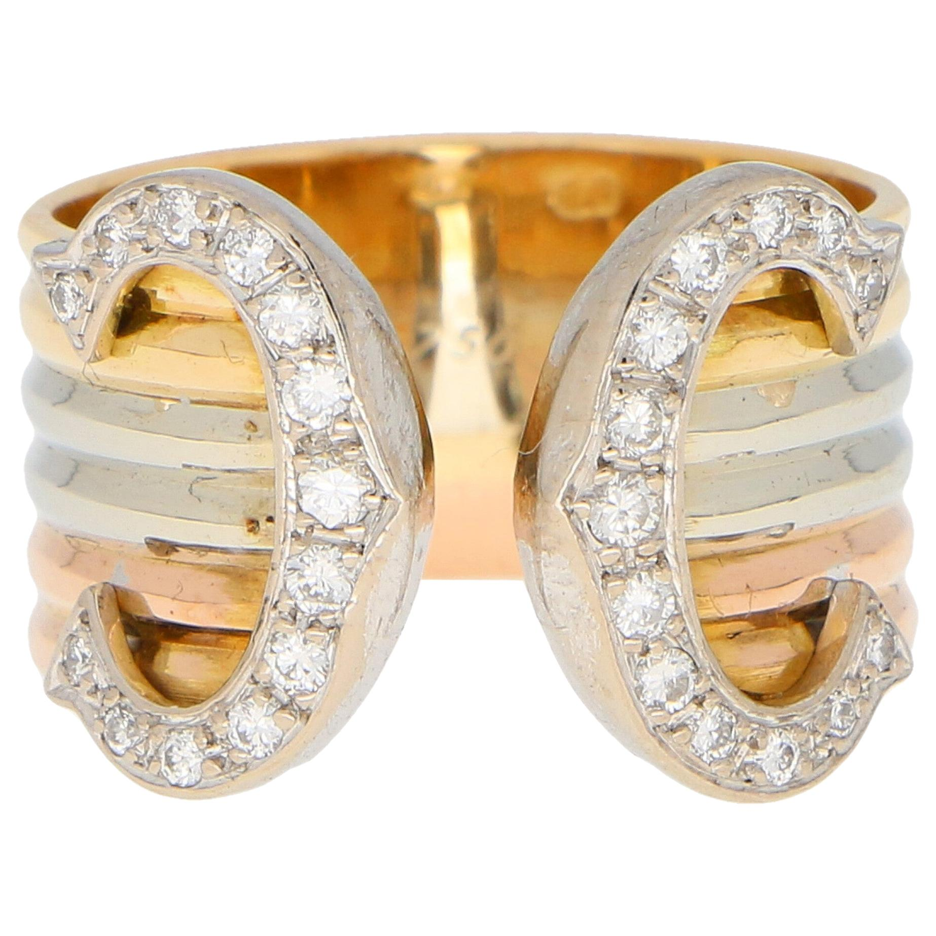 C de Cartier Diamond Trinity Band Ring Set in 18k Yellow, White and Rose Gold