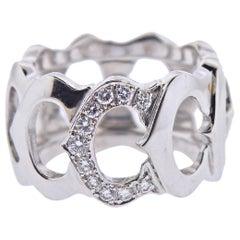 C de Cartier Gold Diamond Wide Band Ring