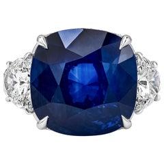 C. Dunaigre Certified 15.68 Carat Blue Sapphire and Diamond Three-Stone Ring