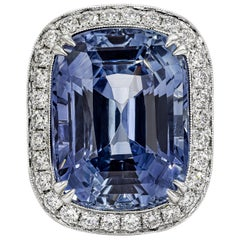 C. Dunaigre Certified 28.34 Carat Sapphire and Diamond Halo Engagement Ring
