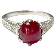 Burma No Heat Ruby Cabochon and Diamond Engagement Ring C. Dunaigre Certified.
