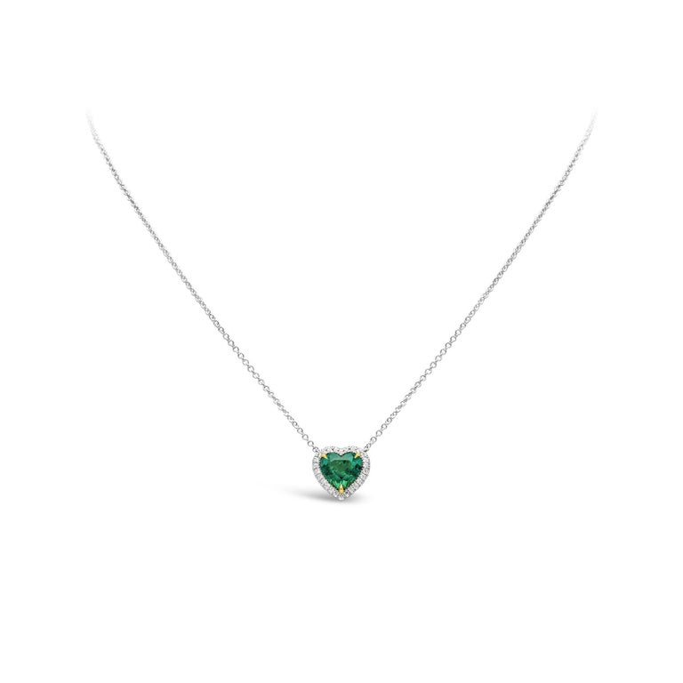 Contemporary C. Dunaigre Certified Colombian Emerald and Diamond Halo Pendant Necklace For Sale