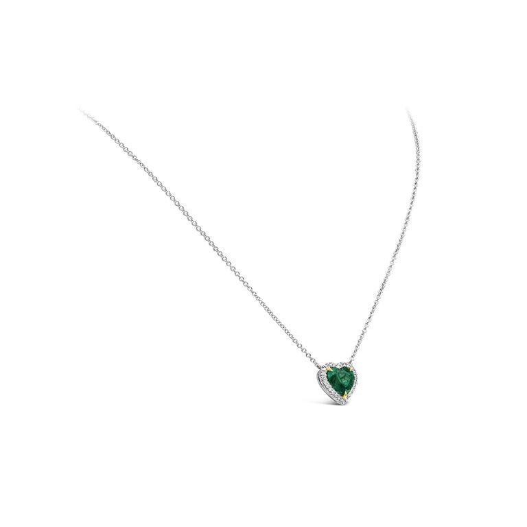Heart Cut C. Dunaigre Certified Colombian Emerald and Diamond Halo Pendant Necklace For Sale