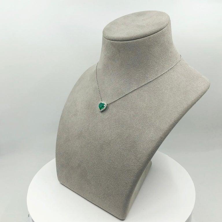 C. Dunaigre Certified Colombian Emerald and Diamond Halo Pendant Necklace For Sale 3