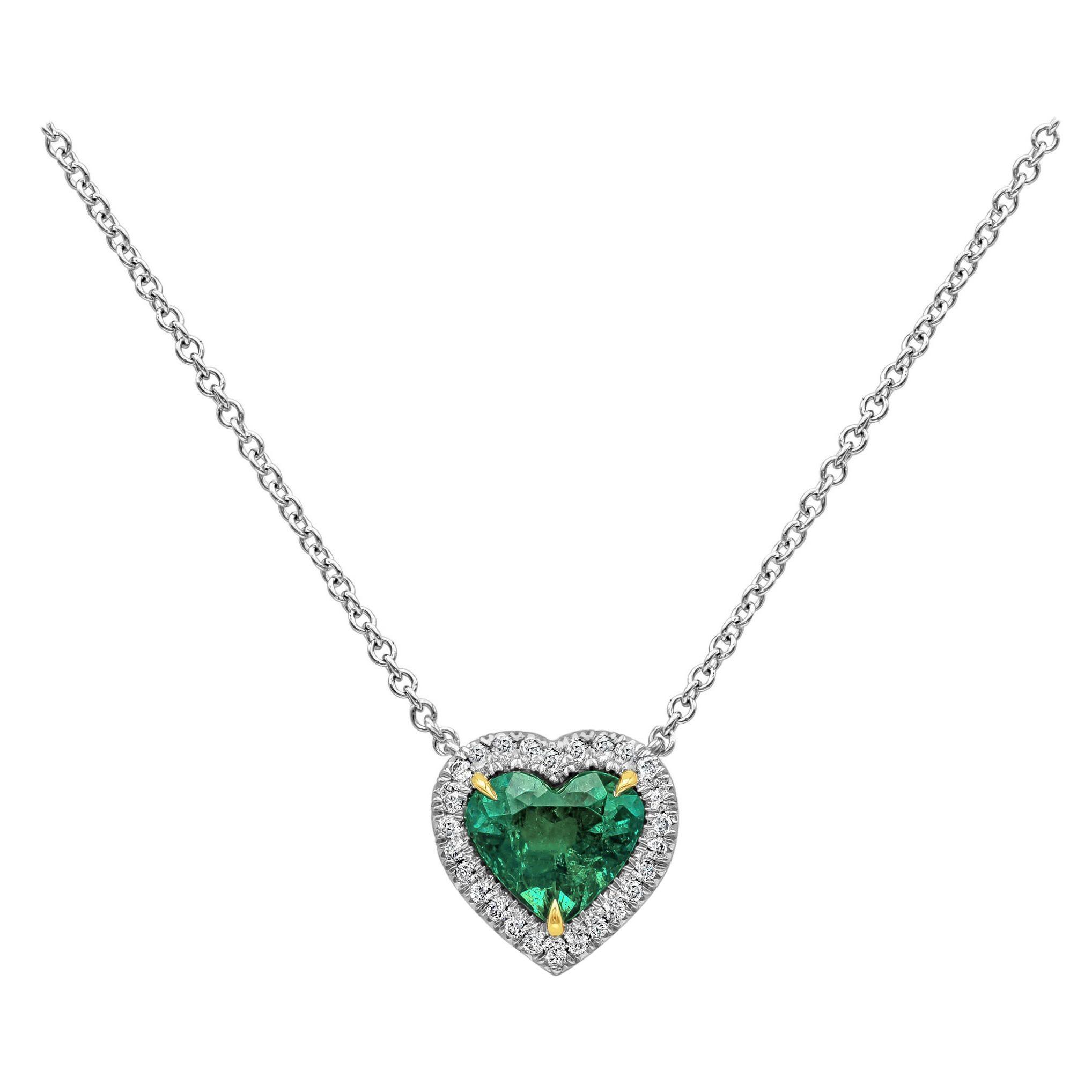 C. Dunaigre Certified Colombian Emerald and Diamond Halo Pendant Necklace