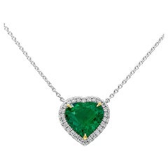 C. Dunaigre Certified Columbian Emerald and Diamond Halo Pendant Necklace