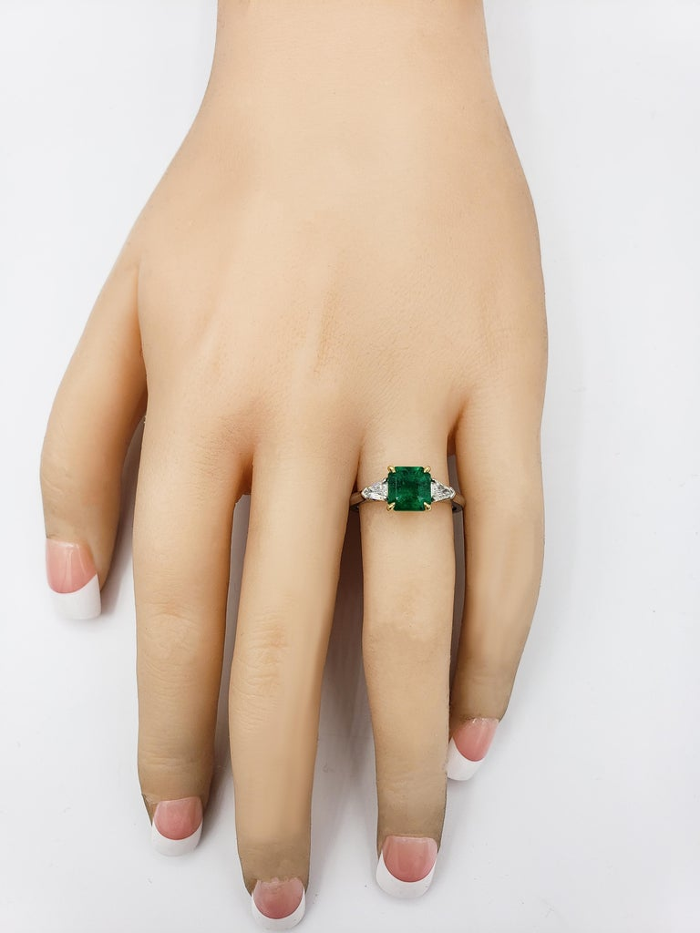 Contemporary C. Dunaigre Certified Emerald and Diamond Three-Stone Engagement Ring For Sale