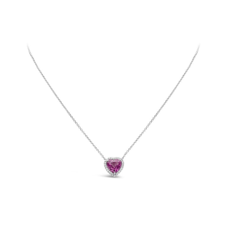 Contemporary C. Dunaigre Certified Heart Pink Sapphire and Diamond Halo Pendant Necklace For Sale